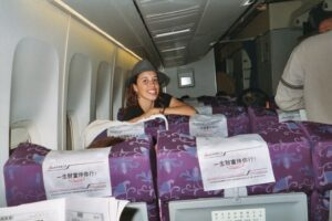 Arlene  on airplane